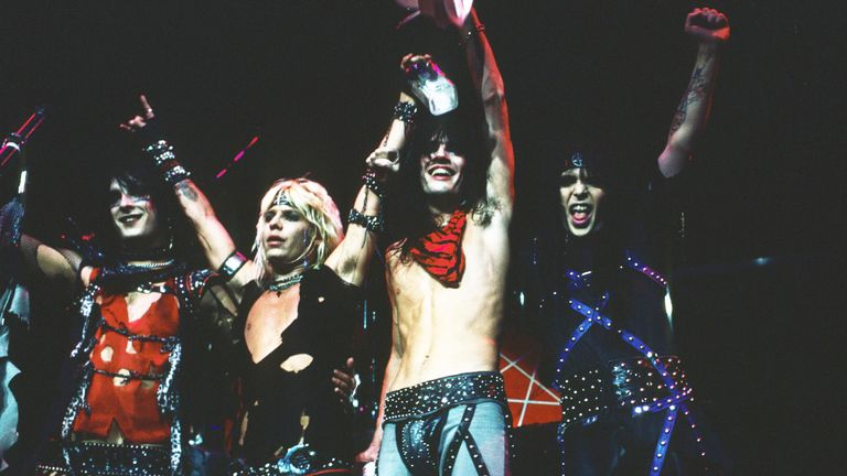 Nikki Sixx, Vince Neil, Tommy Lee and Mick Mars of Motley Crue, perform in concert, New York circa 1984