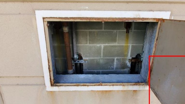 The suspected murderers escaped through this hatch. Pic: Monterey County Sheriff