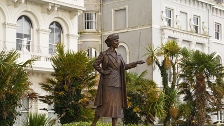 The statue of Nancy Astor was unveiled in Plymouth, Devon