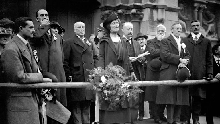 Nancy Astor speaking in front of Plymouth town hall after being elected in 1919