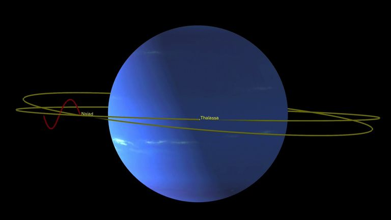 Neptune Moon Dance: This animation illustrates how the odd orbits of Neptune's inner moons Naiad and Thalassa enable them to avoid each other as they race around the planet. Credit: NASA