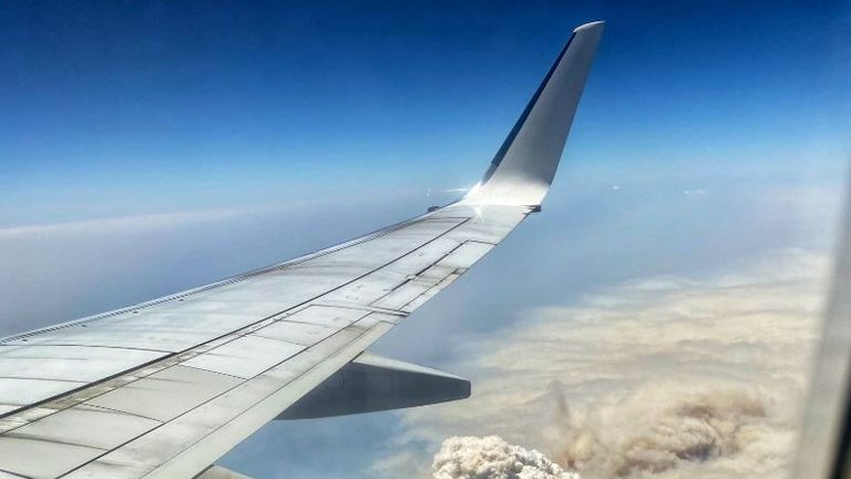 Smoke from the fires could be seen from a plane flying over News South Wales. Pic: Matt Hope