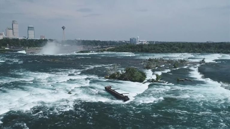 The boat is stuck on the Canadian side of the horseshoe-shaped falls. Pic: Niagara Parks