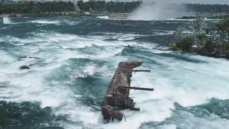 The boat was dislodged by high winds and rain last week. Pic: Niagara Parks