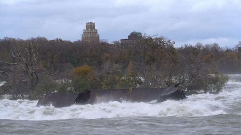 The barge moved about 164 feet downstream before becoming stuck again. Pic: Niagara Parks