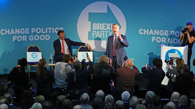 Nigel Farage has introduced the parliamentary candidates for the Brexit Party
