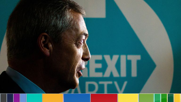 Nigel Farage speaks to media during the Brexit Party general election campaign tour