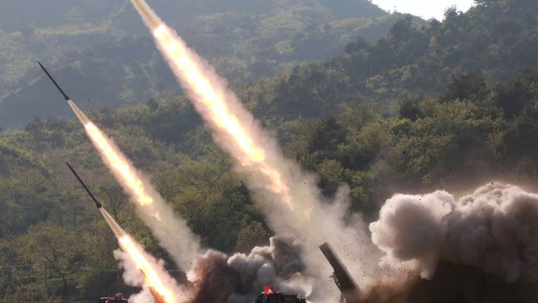 Missiles are launched during a military drill in North Korea in May