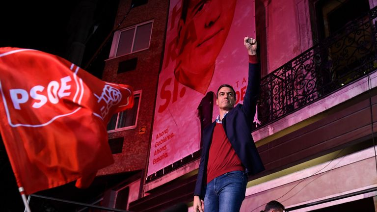 Spanish incumbent prime minister and Socialist Party (PSOE) candidate for re-election, Pedro Sanchez, celebrates after winning the general elections in Madrid on November 10, 2019