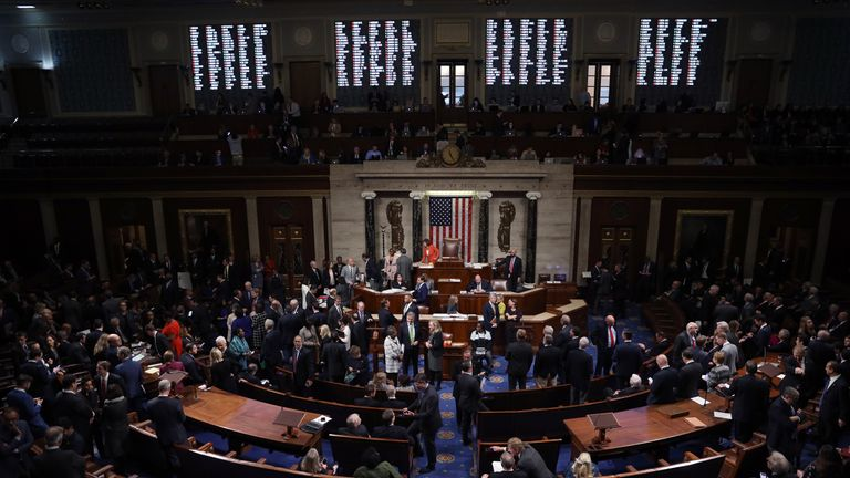 WASHINGTON, DC - OCTOBER 31: The U.S. House of Representatives votes on a resolution formalising the impeachment inquiry centred on U.S. President Donald Trump October 31, 2019 in Washington, DC