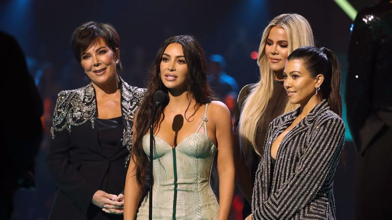 Kris Jenner, Kim Kardashian, Khloe Kardashian, and Kourtney Kardashian accept The Reality Show of 2019 for 'Keeping Up with the Kardashians' on stage during the 2019 E! People's Choice Awards held at the Barker Hangar on November 10, 2019. Pic: E! Entertainment