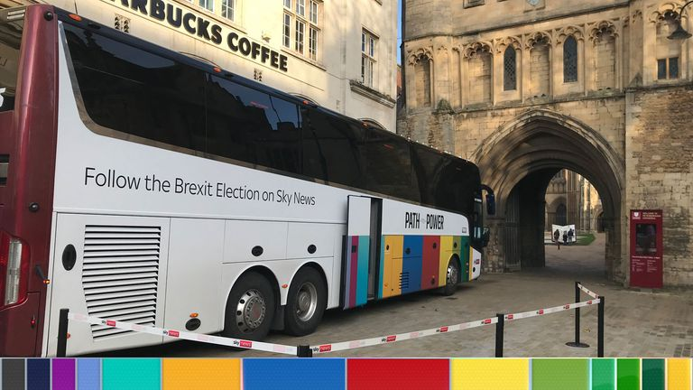 Sky's Brexit election bus arrives in Peterborough