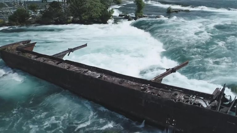 The rusty iron boat had been stuck since 1918 on rocks in the upper rapids. Pic: Niagara Parks