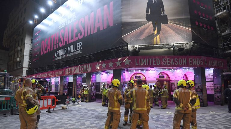 "Firefighters outside the Piccadilly Theatre, London, after it was evacuated when part of its ceiling crashed down into the auditorium during a performance of Death of a Salesman. PA Photo. Issue date: Wednesday November 6, 2019. The Metropolitan Police said a ""few"" people had suffered minor injuries and that emergency services remained on scene. See PA story ACCIDENT Theatre. Photo credit should read: Kirsty O'Connor/PA Wire"