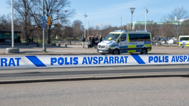 GOTHENBURG, SWEDEN - MARCH 23: Police tape separates counter protesters from a rally by right wing group Alternative for Sweden on March 23, 2019 at Kungsparken in Gothenburg, Sweden. (Photo by Julia Reinhart/Getty Images)