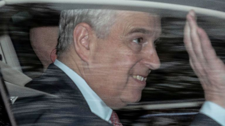 The Duke of York leaves his home in Windsor, Berkshire, the day after he suspended his royal duties