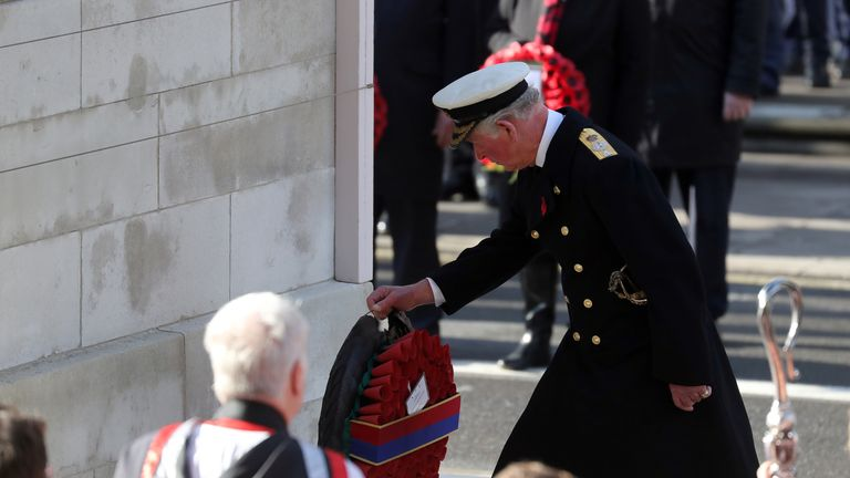 Prince Charles lays a wreath at the Cenotaph