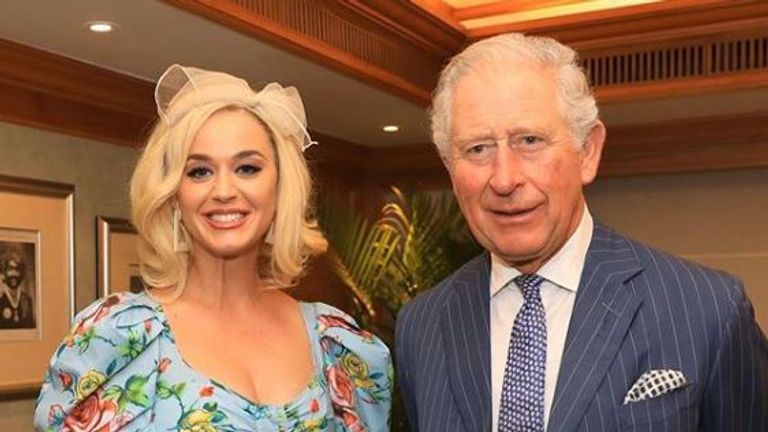 Prince Charles (R) with singer Katy Perry in Mumbai, on the first day of his royal tour of India. Pic: Clarence House
