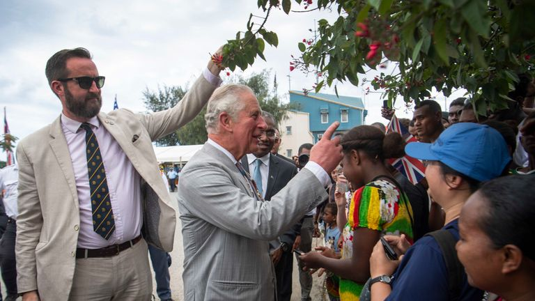 The prince met well-wishers in the Solomon Islands