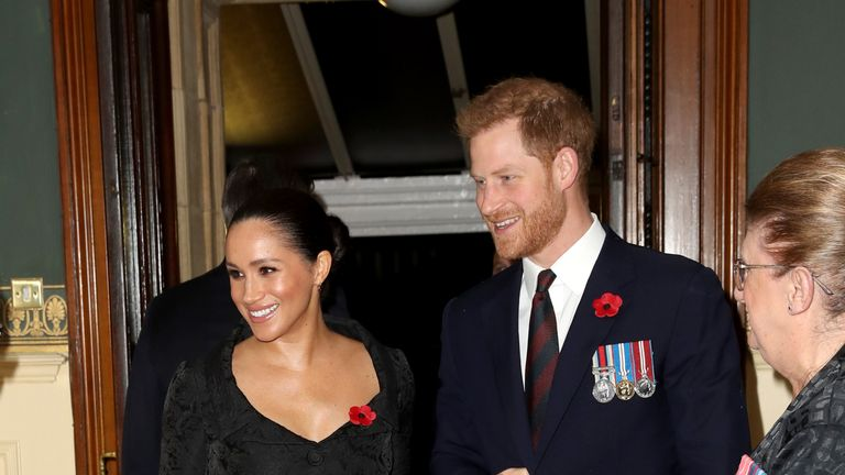 Harry and Meghan were without Prince Archie for the event at the Royal Albert Hall