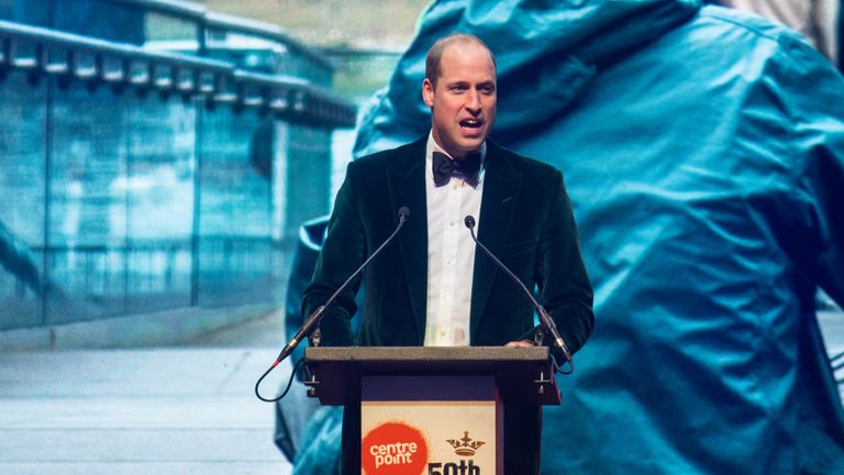 Prince William delivered a speech to mark the 50th anniversary of the Centrepoint charity