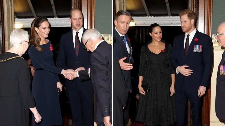 Prince William and Kate, left, have appeared in public with Prince Harry and Meghan, right