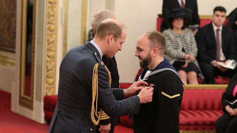 Matthew Gallimore is made an MBE (Member of the Order of the British Empire) by the Duke of Cambridge