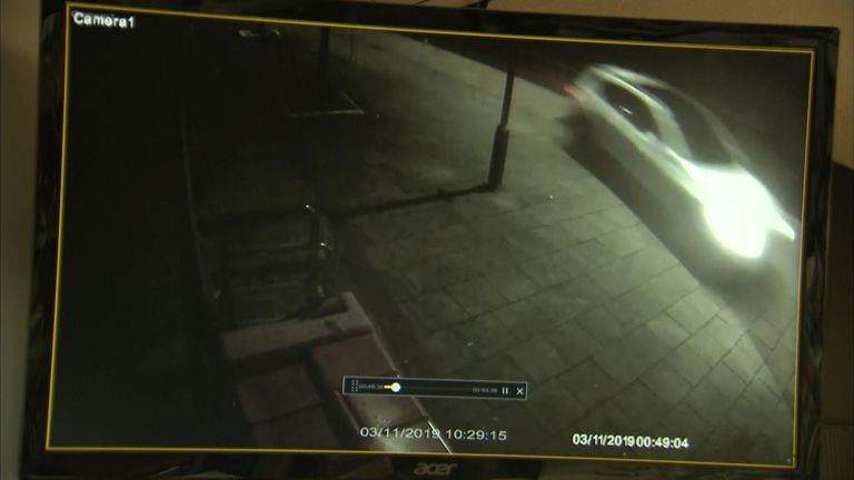 CCTV obtained by Sky News shows a car speeding just before a fatal crash occurred at the Spinnaker Pub in Colchester, Essex