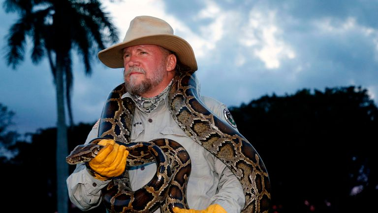 Tom Rahill, founder of Swamp Apes, handles a Burmese python as he speaks about the snake at Everglades Holiday Park in Fort Lauderdale, Florida on April 25, 2019. - Along with the venomous lionfish, the Burmese python is perhaps the least welcome invasive species in Florida: lacking any natural predators, it has happily chomped its way through the state's wildlife. Native to Southeast Asia, the Burmese pythons have become a plague in Florida. The South Florida Water Management District hired 25