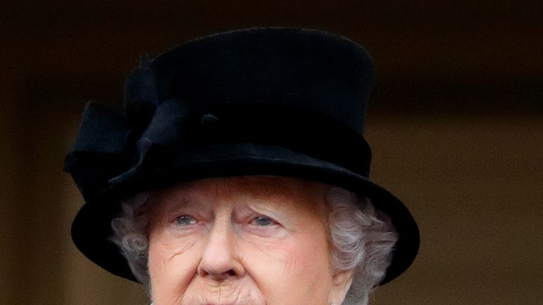 The Queen appears to be teary-eyed at The Cenotaph