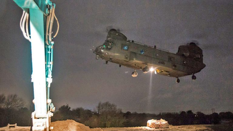 RAF Chinook in Doncaster moving tonnes of aggregate. Pic: RAF Odiham/MoD/Crown