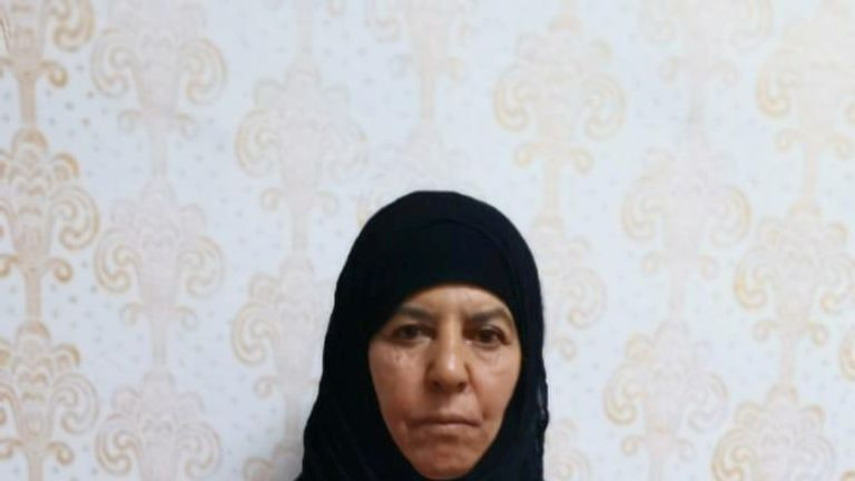 , believed to be the sister of slain Islamic State leader Abu Bakr al-Baghdadi, who was captured on Monday in the northern Syrian town of Azaz by Turkish security officials