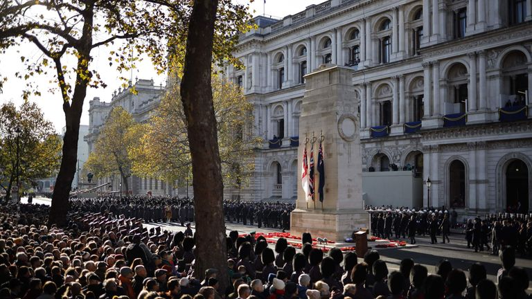 Remembrance Sunday service at the Cenotaph
