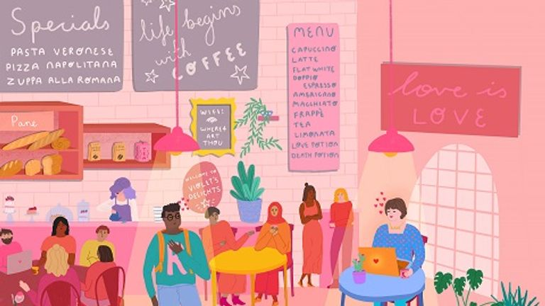 This picture is based on Romeo and Juliet meeting in a 'funky cafe'. Pic: Octavia Bromell
