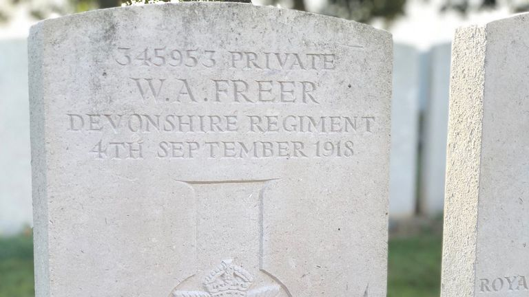 The grave of Ron Freer's father, who died in the First World War, is in France