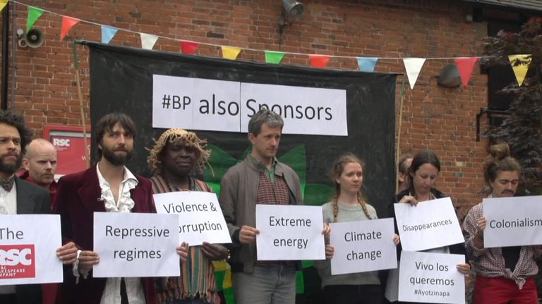 Protesters demonstrating against BP's sponsorship of the RSC