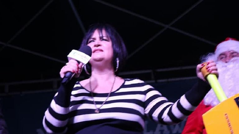 Gavin And Stacey star Ruth Jones switched on Barry town's Christmas lights, dressed as Nessa, her character from the series