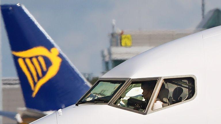 A Ryanair plane at Dublin Airport