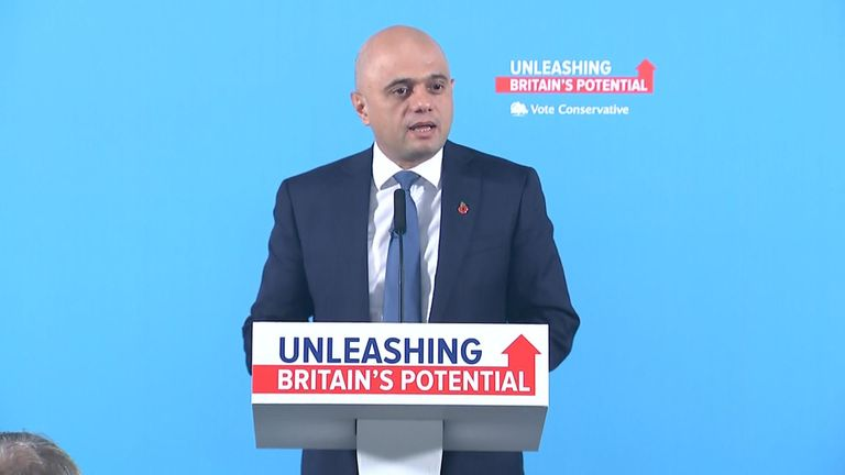 Chancellor Sajid Javid is campaigning in Manchester