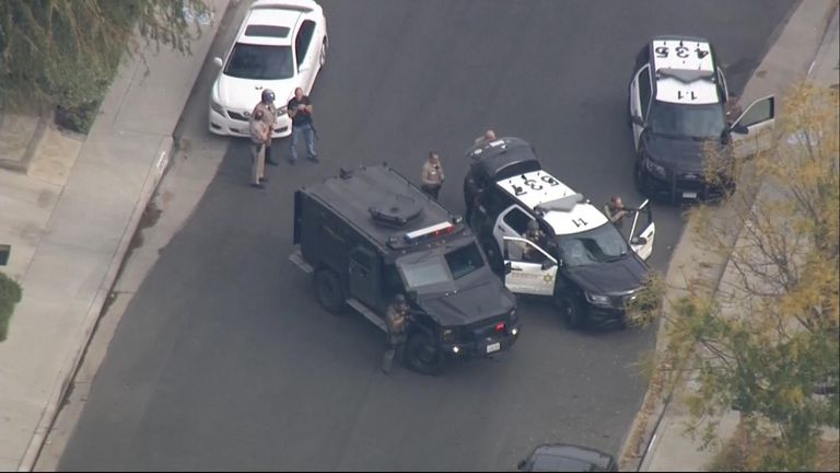 Aerials over Saugus High School in Santa Clarita, California where there have been reports of an active shooter