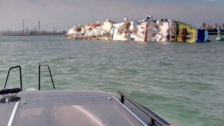 "A capsized livestock transport vessel, in the ""Midia"" Black Sea harbour near Constanta"