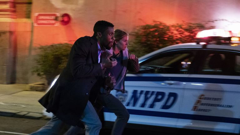Sienna Miller and Chadwick Boseman in 21 Bridges. Pic: STX International