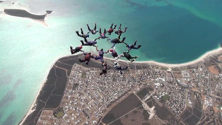 A group of 15 female skydivers set the record for the most amount of female divers to pull off a multi-point formation jump in Western Australia.