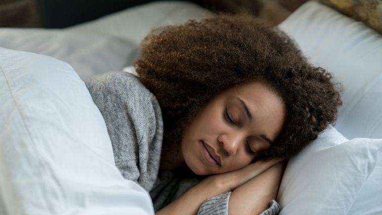 Portrait of a woman sleeping stock photo