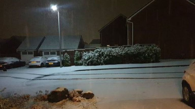 Snow in South Wales. Pic: Rose/@CanaryG_Wales/PA