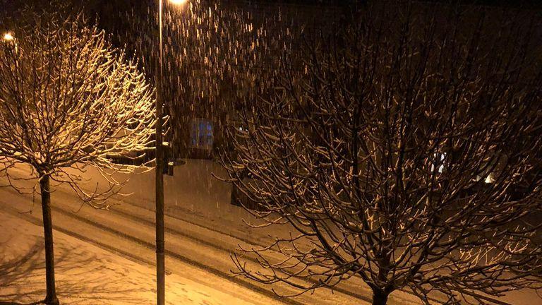 Snow in Swansea. Pic: Steven Williams/@stevenwills11/PA