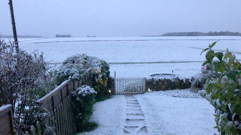 Snow near Northleach in the Cotswolds, Gloucestershire. Pic: @ohdaisydog/PA Wire