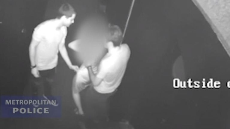 CCTV footage shows the two Italian men who have been jailed for seven-and-a-half years for raping a woman in a Soho nightclub handling the drunk victim.
