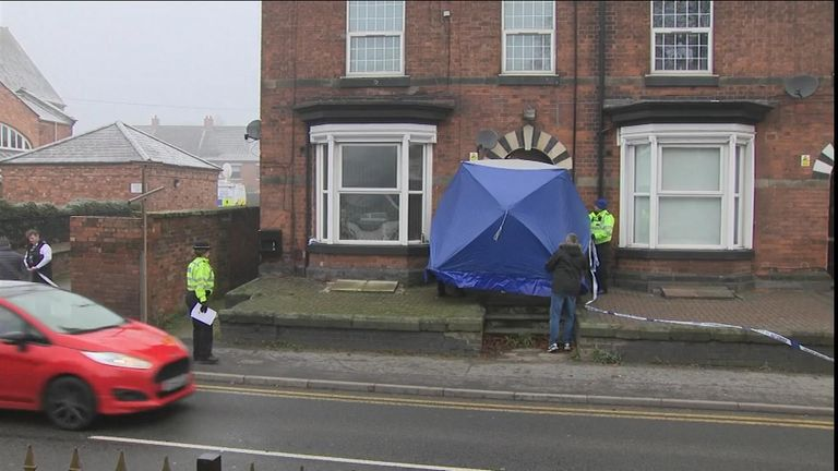 Police search a property in Stafford, Staffordshire