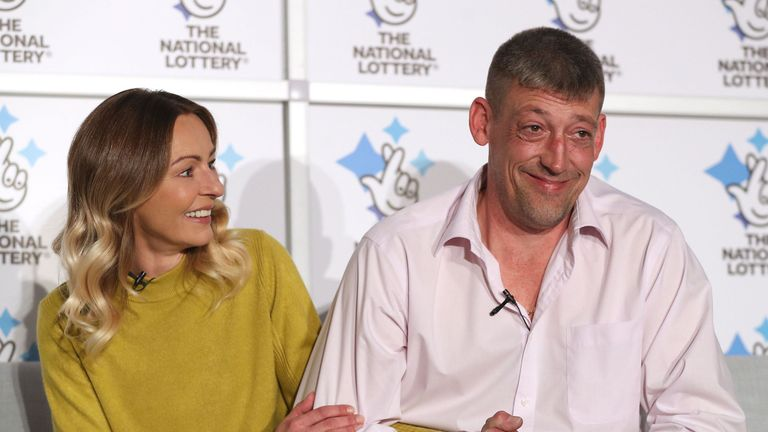 Self-employed builder Steve Thomson, 42, and his wife Lenka Thomson, 41, from Selsey, West Sussex, celebrate their £105 million EuroMillions win at the Hilton Avisford Park, Walberton, West Sussex. PA Photo. Picture date: Tuesday November 26, 2019. Steve and Lenka, who is originally from Slovakia, have three children aged 8 to 15, and have won the 9th largest jackpot ever in the UK. See PA story LOTTERY EuroMillions. Photo credit should read: Andrew Matthews/PA Wire